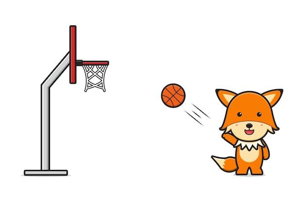 かわいいキツネのバスケットボールの漫画のアイコンのベクトル図を再生します。白で隔離のデザイン。フラットな漫画のスタイル。