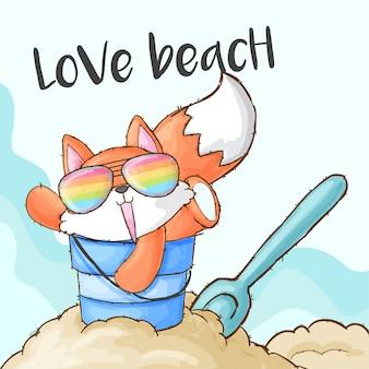 Cute fox playing on the beach sand