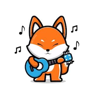Cute fox playing a guitar Premium Vector