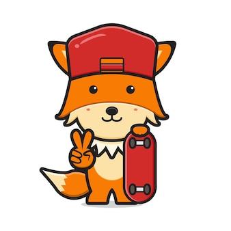 Cute fox playing skateboard cartoon icon vector illustration. design isolated on white. flat cartoon style.