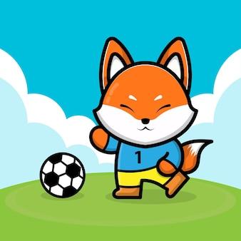 サッカーボールの漫画イラストを再生するかわいいキツネ