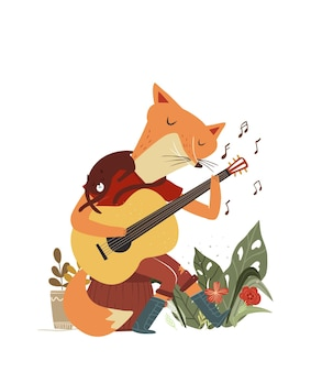 Cute fox plays the guitar fox playing music instrument with little kitten