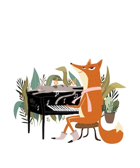 Cute fox plays the piano fox playing music instrument with piano