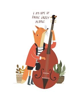 Симпатичная лиса играет на контрабасе фокс играет на музыкальном инструменте с контрабасом