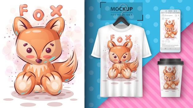Cute fox poster and merchandising