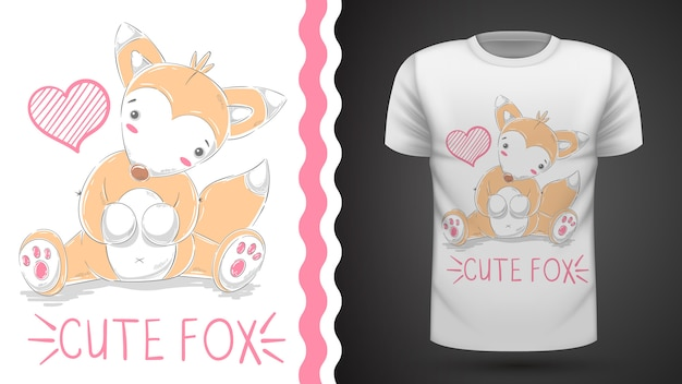 Cute fox for print t-shirt