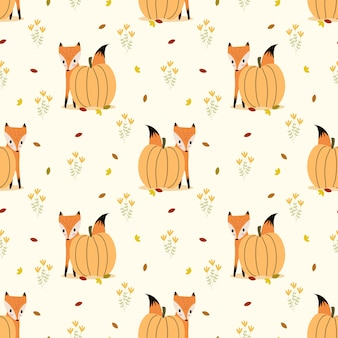 Cute fox and pumpkin seamless pattern vector.