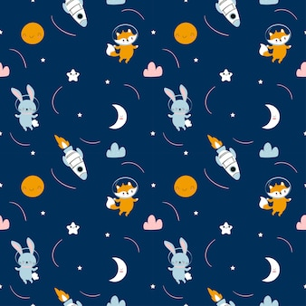 Cute fox and rabbit astronaut cartoon seamless pattern