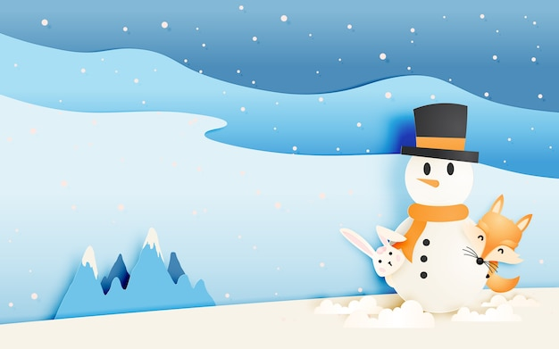 Cute fox and rabbit with snowman in paper art style pastel scheme vector illustration