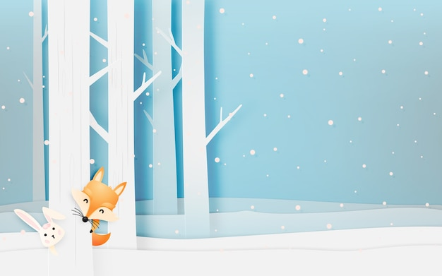 Cute fox and rabbit in the wood with paper art style pastel scheme vector illustration