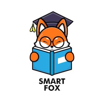 Cute fox reading book