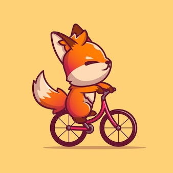Cute fox riding bike cartoon vector  illustration. animal sport  concept isolated  vector. flat cartoon style