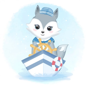 Cute fox sailor driving boat and swim ring illustration