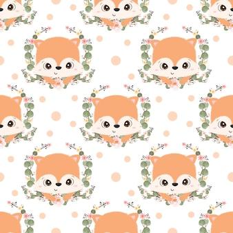 어린이 패브릭 벽지 등을 위한 귀여운 여우 원활한 패턴