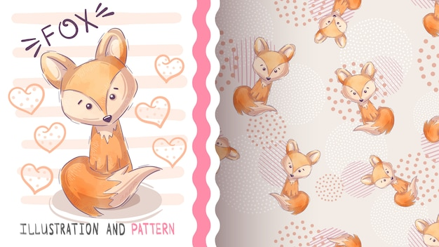 Cute fox seamless pattern and illustration