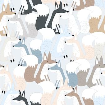 Cute fox seamless pattern