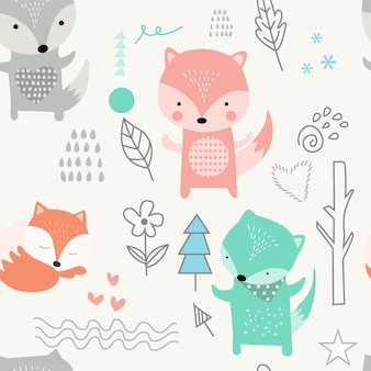 Cute fox seamless pattern