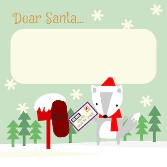 Cute fox send letter in christmas season