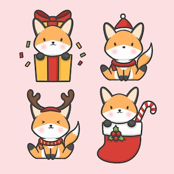Cute fox set costume christmas hand drawn cartoon vector