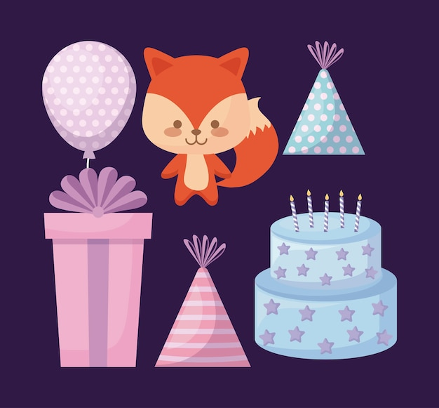 Cute fox and set icons party
