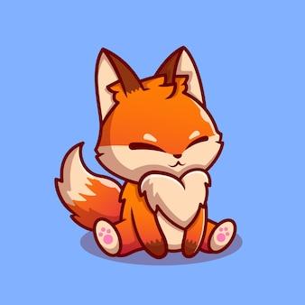 Cute fox sitting cartoon character. animal nature isolated.