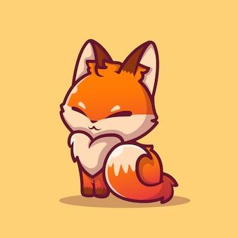귀여운 여우 앉아 만화 아이콘 그림입니다. 동물 아이콘 개념 절연 프리미엄입니다. 플랫 만화 스타일
