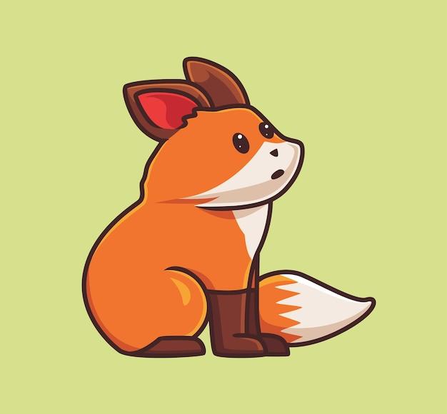 앉아있는 귀여운 여우. 격리 된 만화 동물 자연 개념 그림입니다. 스티커 아이콘 디자인 프리미엄 로고 벡터에 적합한 플랫 스타일. 마스코트 캐릭터 프리미엄 벡터
