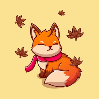 Cute fox sitting with scarf in autumn cartoon   icon illustration. animal nature icon   isolated    . flat cartoon style