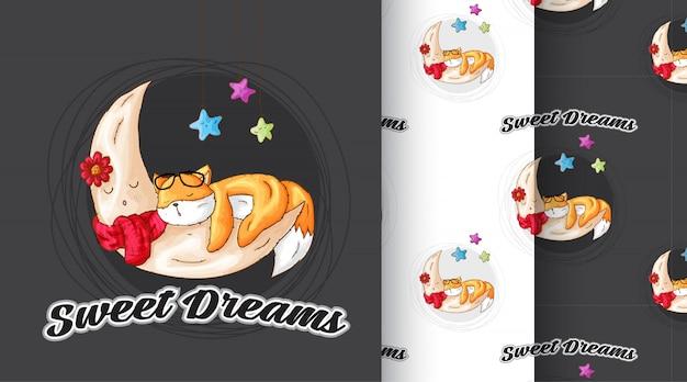 Cute fox sleeping pattern illustration