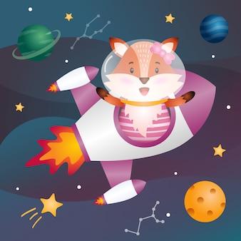 A cute fox in the space galaxy