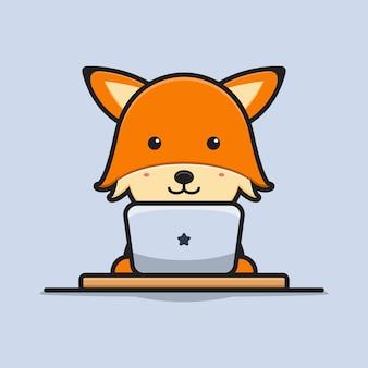 Симпатичные лиса исследование с ноутбуком мультфильм значок векторные иллюстрации. дизайн, изолированные на белом. плоский мультяшный стиль.