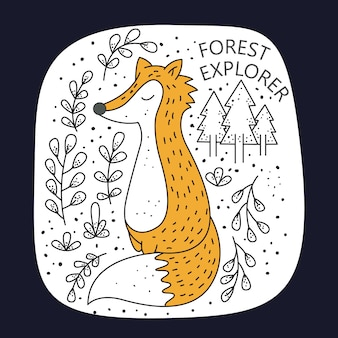 Cute fox for t shirt print
