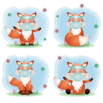 Cute fox using face shield and mask collection