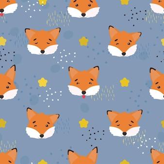 귀여운 여우, 벡터 패턴입니다. 어린이를 위한 원활한 여우 패턴입니다. 패턴은 포스터, 엽서, 천 또는 포장지에 적합합니다.