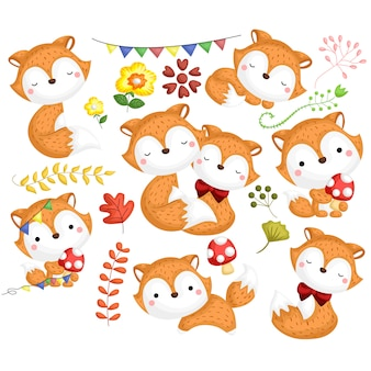 Cute fox vector set