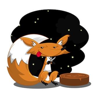 Cute fox waiting for dinner cartoon vector