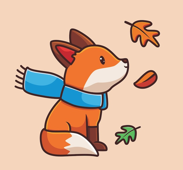 스카프 만화 동물 가을 시즌 개념을 입고 귀여운 여우 격리 된 그림 플랫 스타일