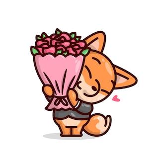 검은 색 수트를 입고 빨간 장미 꽃 한 송이를 가져 오는 귀여운 여우. 발렌타인 데이 삽화.