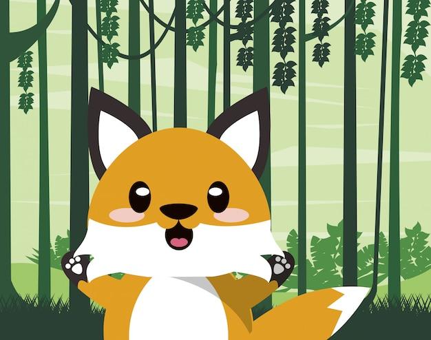 Cute fox wild animal character icon