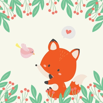 Cute fox in the wild illustration. hand drawn art.