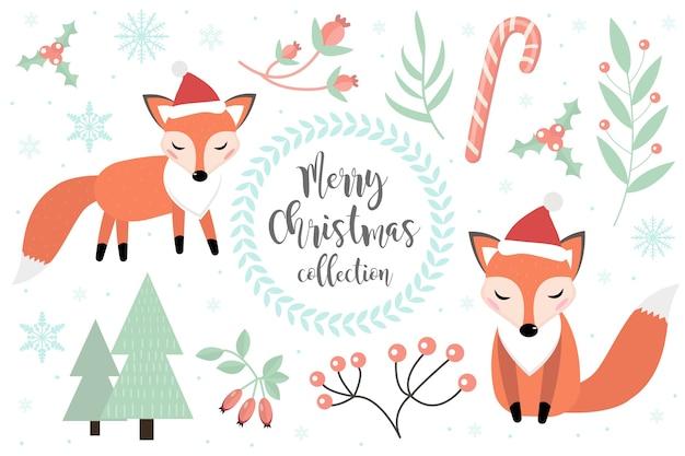 かわいいキツネの冬の森のセット。フォクシー、雪片、クリスマスツリーのコレクション。メリークリスマス