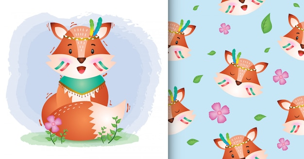 Cute fox with apache costume seamless pattern and illustration designs
