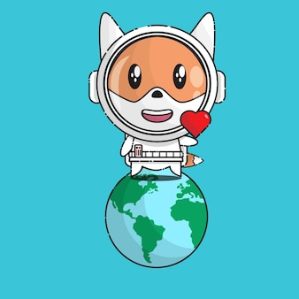 Cute fox with astronaut uniform standing on earth
