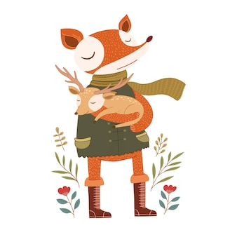 Cute fox with baby deer illustration