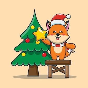 Симпатичная лиса с елкой в рождественский день симпатичная рождественская карикатура