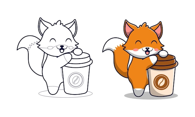 Cute fox with coffee cartoon coloring pages for kids