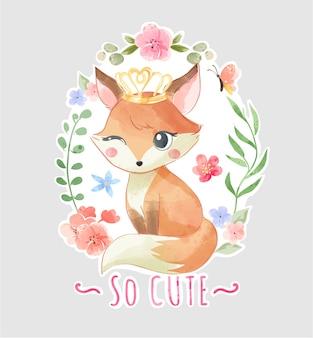 Милая лиса с короной в цветочной рамке иллюстрации