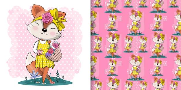 子供のための花のイラストがかわいいキツネ