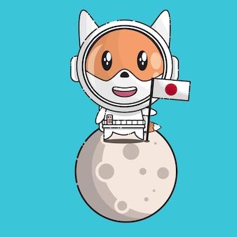 日本の国旗と宇宙飛行士の制服が月に立っているかわいいキツネ