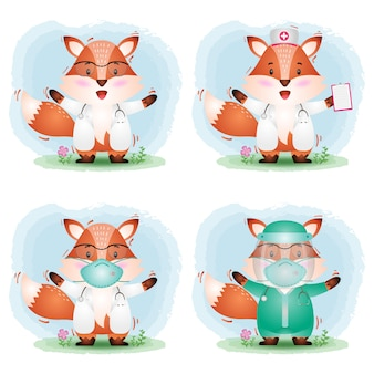 Cute fox with medical staff team doctor and nurse costume collection